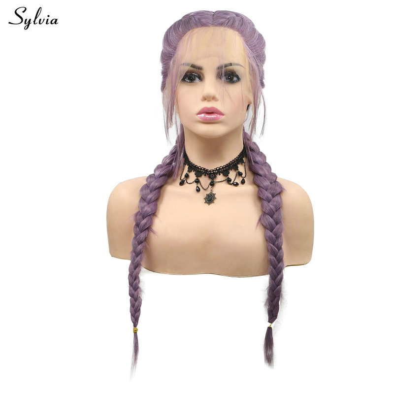 Sylvia Double Braids Long Hair For Women Purple Color Synthetic Lace Front Wigs With Baby Hair Braided Heat Resistant Fiber Hair
