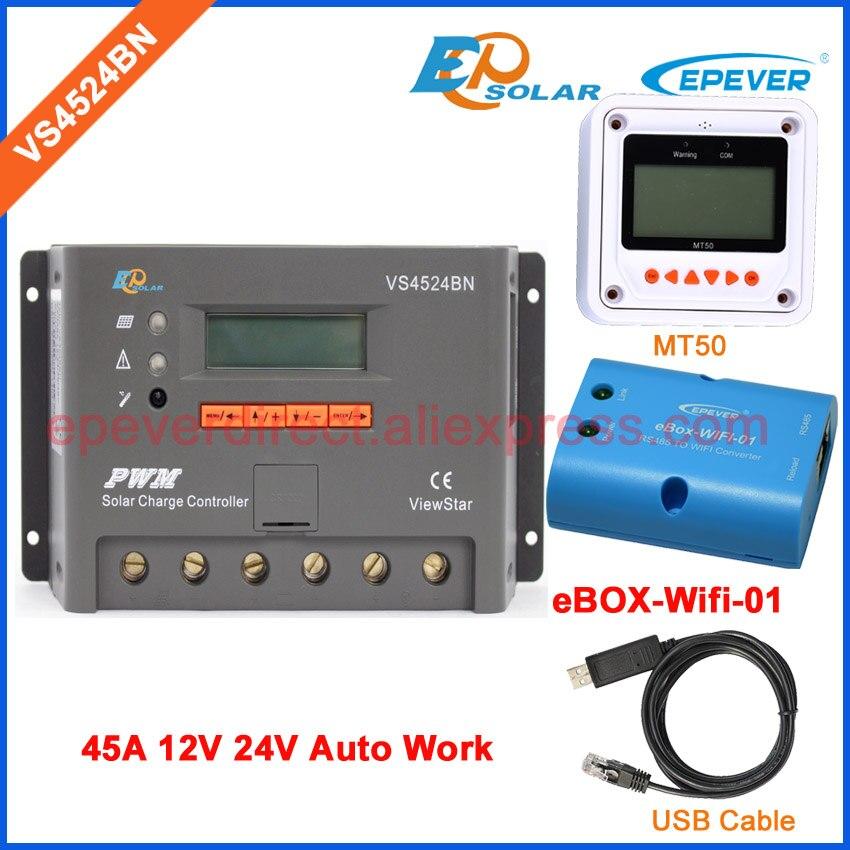 12V 45A Солнечный ШИМ регулятор зарядное устройство VS4524BN 45amps wifi коробка wifi Беспроводная функция и USB кабель Разъем