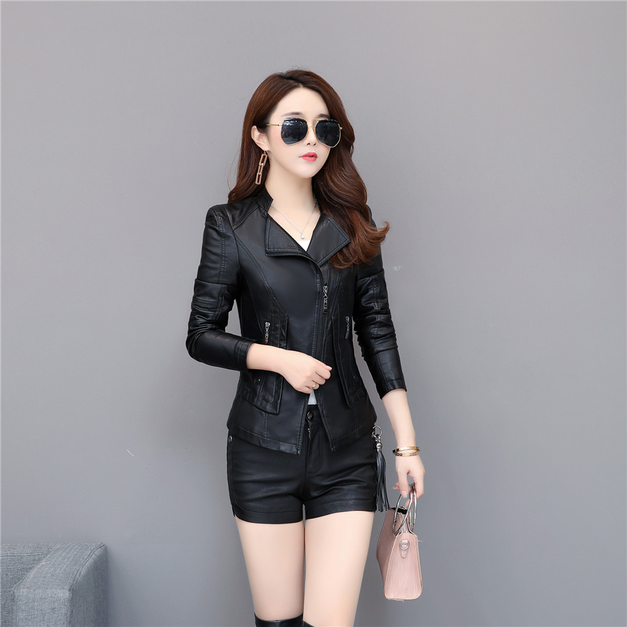 Suede   jacket woman 2019 Spring Autumn faux   leather   jacket women short Standing collar   leather   jacket women black