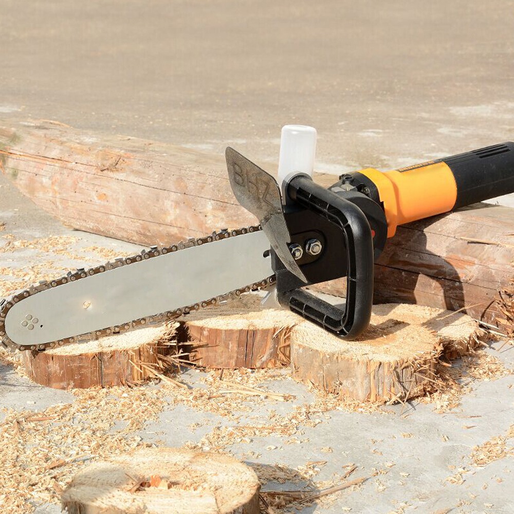 Electric DIY Chain Saw Converter Chainsaw Bracket Tree Felling Saw Changed Angle Grinder into Chain Saw for M10 Woodworking Tool