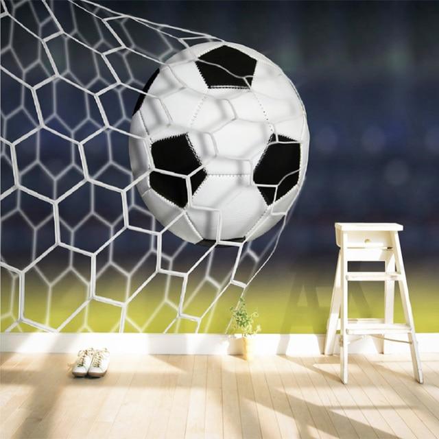 38b1d75412 Murais De Parede Papel De Parede personalizado 3D Estereoscópico Futebol  Grande Mural Papel De Parede Moderno