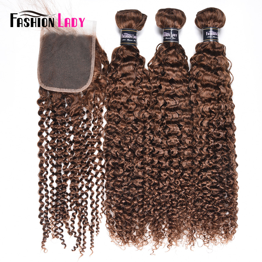 Fashion Lady Pre-Colored Peruvian Curly Hair With Closure 3 Bundles 4# Medium Brown Bundles With Closure Non-Remy