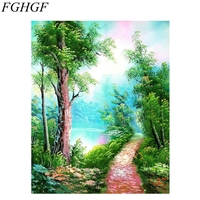 FGHGF Frameless Romantic River Landscape DIY Painting By Numbers Kits Acrylic Paint On Canvas Handpainted Home