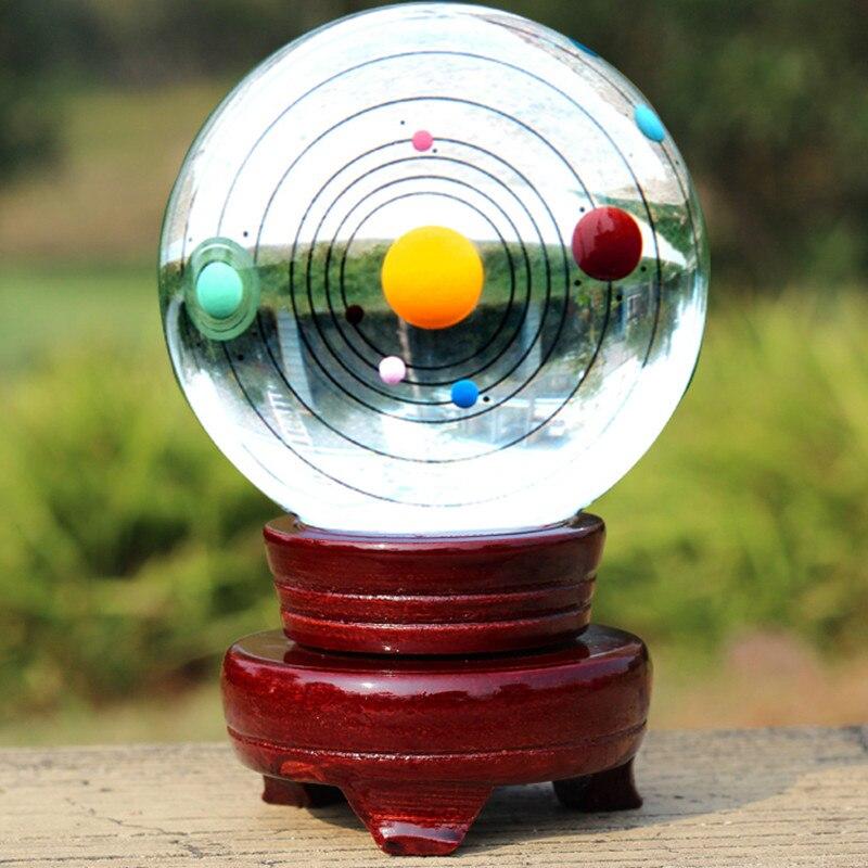 80mm système solaire grande planète Globe de cristal sphère polie Feng Shui boule de verre artisanat décor à la maison cadeaux astrophiles