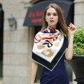 130*130 cm 2017 mujeres de lujo estampado de leopardo bufanda de seda cuadrado grande de personas carta bolsa de sarga pañuelo de seda pashmina chal