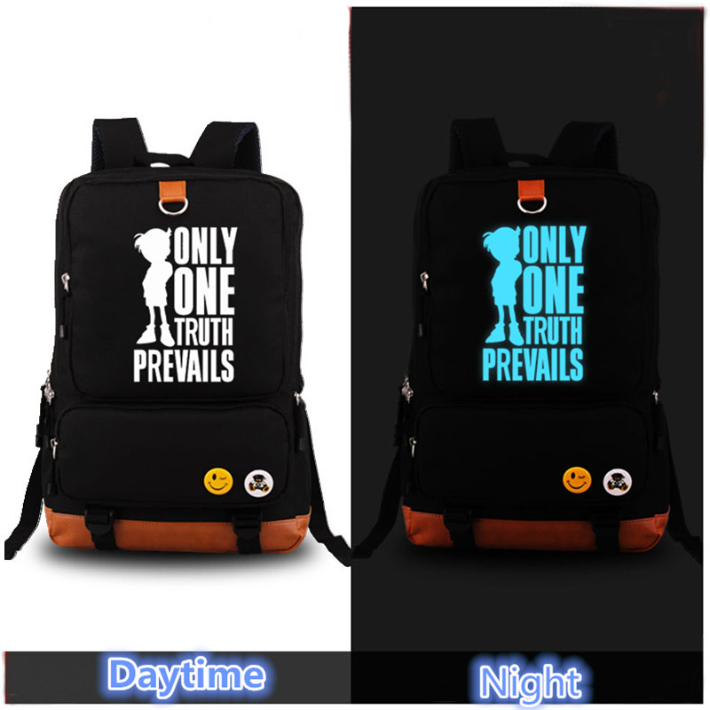 High Quality 2017 Hot Anime Detective Conan Only One Truth Prevails Luminous Printing Backpack Laptop Bag Mochila Feminina