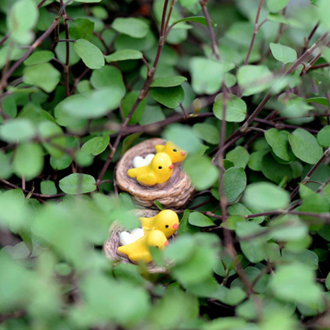 Nuovo Mini Nido con Gli Uccelli Fata Giardino Miniature Gnomes Muschio Terrari Mestieri Della Resina Figurine per La Decorazione Domestica Accessori