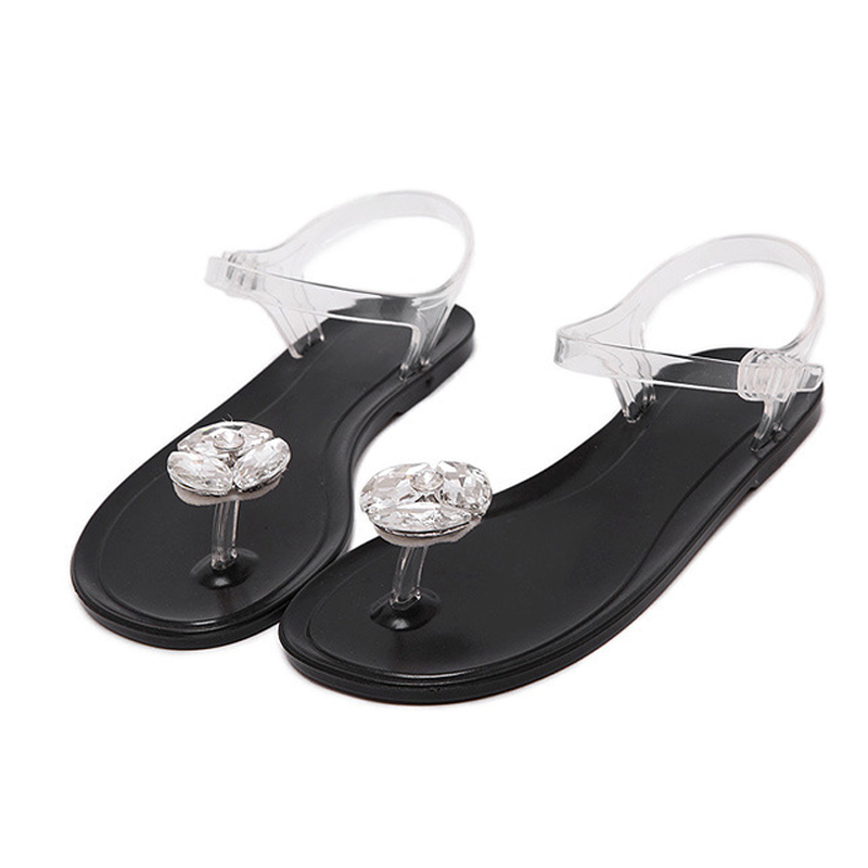 Road Track Jelly Sandals Large Solid Crystal Diamond Flower Flat with Clip  Toe Plastic Tide Platform Sandals XWA1169 5-in Women s Sandals from Shoes on  ... 5ab36105b119