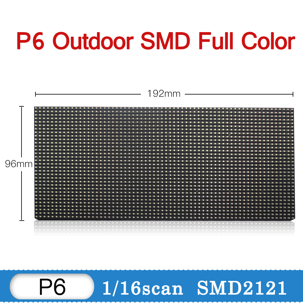 P6 Outdoor Led Display Module Tv Panel Video Wall P6 Sign Board Led Display Wall Screen RGB Full Color 192*96 mm 32*16 pixels