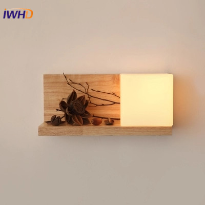 Modern LED Wall Light Fixtures Fashion Cube Glass Wall Lamp Led Indor Simple Wood Bedside Sconce Lights Home Lighting Luminaire modern wall lamp glass ball led wall sconces bedside wall light fixture bedroom luminaria home lighting vintage lamp