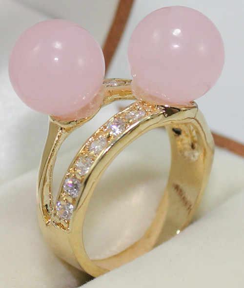 จัดส่งฟรี>>>@@น่ารักขายส่ง18kgp 2สีชมพูหยกลูกปัด6-8มิลลิเมตรเลดี้แหวนแฟชั่น(#7.8.9) #