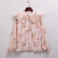 Cute Girls Floral Blouse Rose Print Long Sleeve Peter Pan Collar Shirt Tops