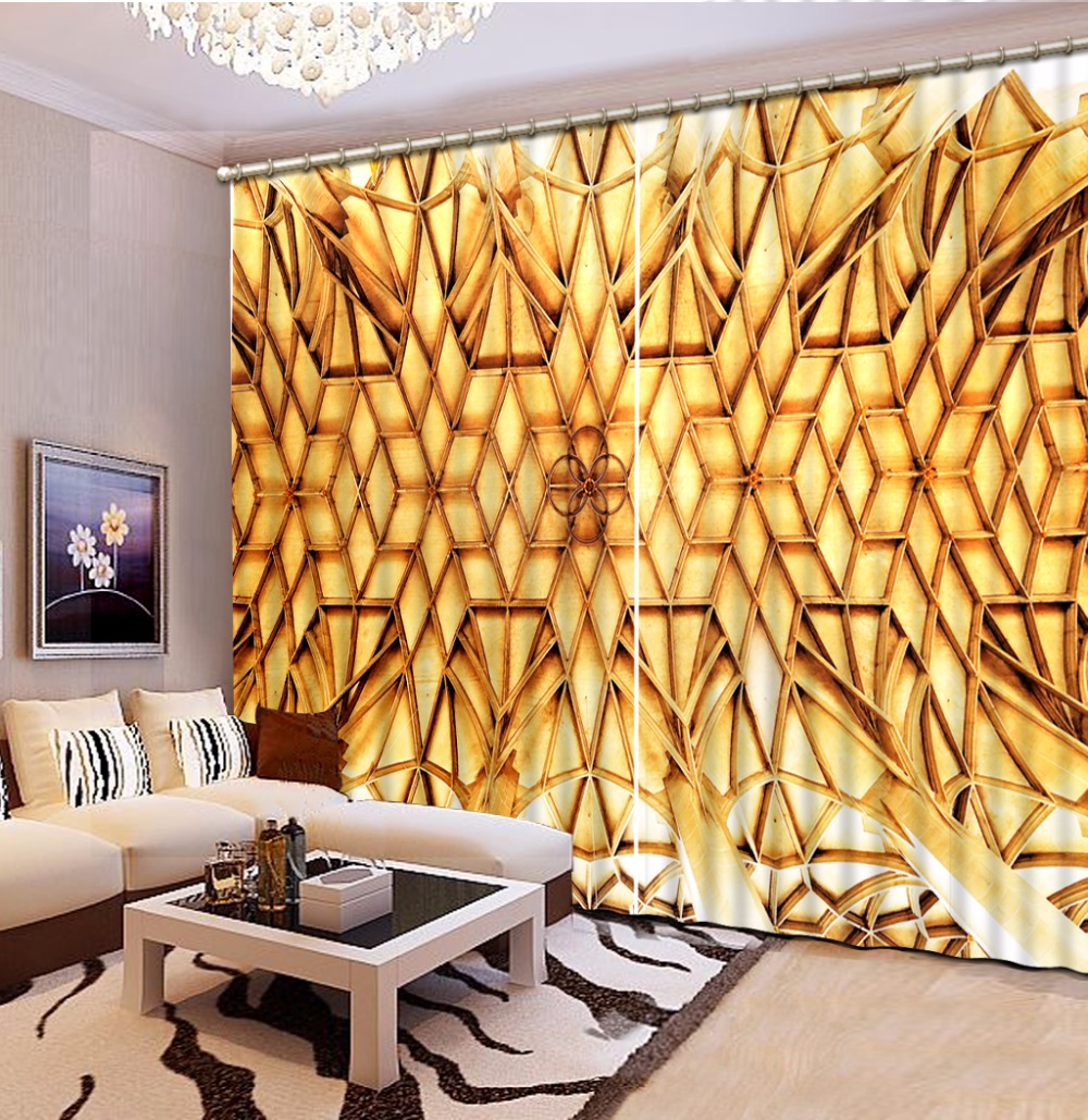 Fashion Customized Classic Home Decor 3D Curtain Golden Geometric Pattern Bed Room Living Room Office Hotel Cortinas Fashion Customized Classic Home Decor 3D Curtain Golden Geometric Pattern Bed Room Living Room Office Hotel Cortinas