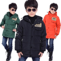 Free Shipping Boy Autumn Winter Long Style Solid Warm Down Coat Letter Hooded Parkas Thick Children Overcoat Three Color Clothes