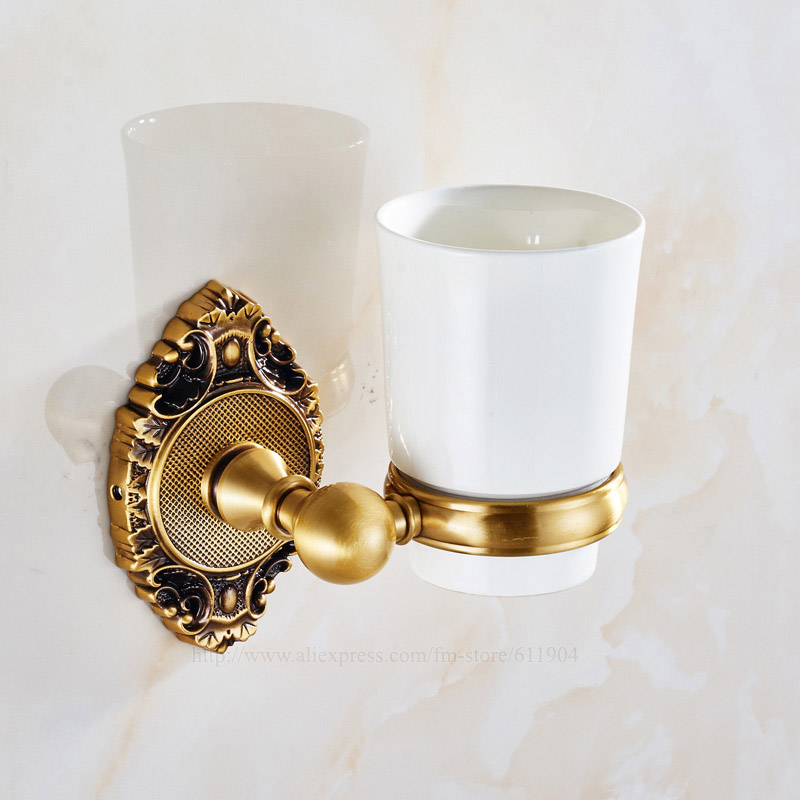 Free shipping Toothbrush Cup Tumbler Holder White Ceramic cup Brass holders Bathroom Hardware Accessary Brass Polished 3AG2311 convenient sucker five place abs white toothbrush holder