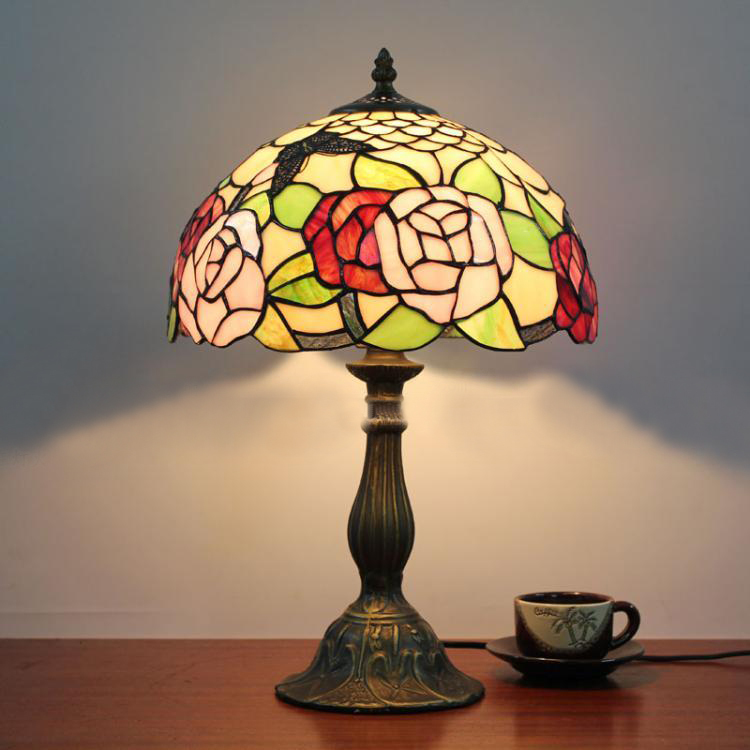 12 Inch Pink Rose Table Lamp European Vintage Classic