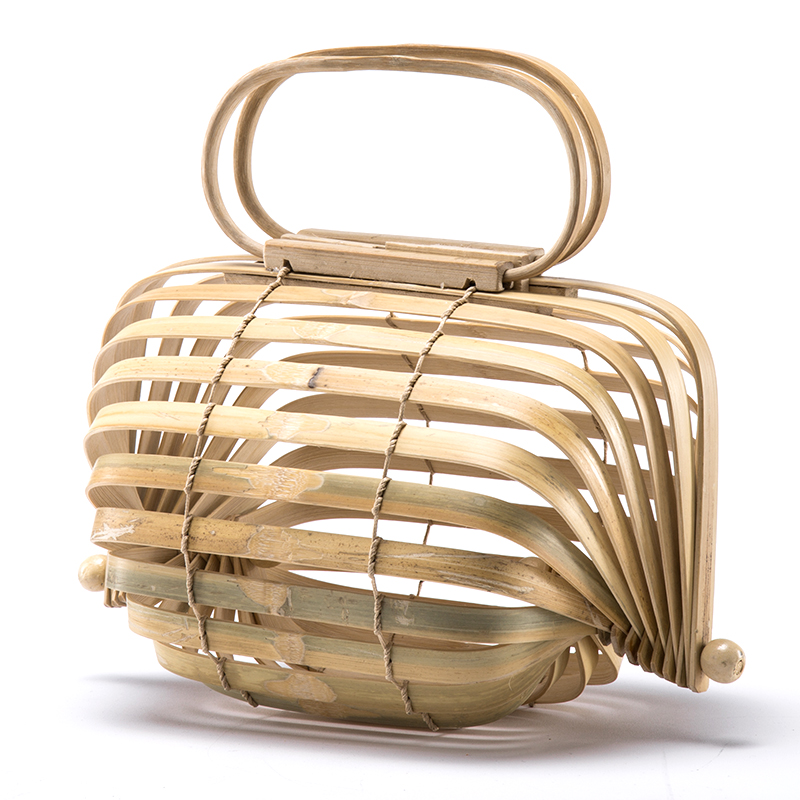 INS Women Bamboo Basket Bamboo Bag Women Large Straw Bag Summer Handmade Bag Hollow Out Tote Luxury Designer Foldable Bag Bali 24k gold ring pure real pattern exquisite fine jewelry mini resizable design fashion female new hot sale 999 trendy party women