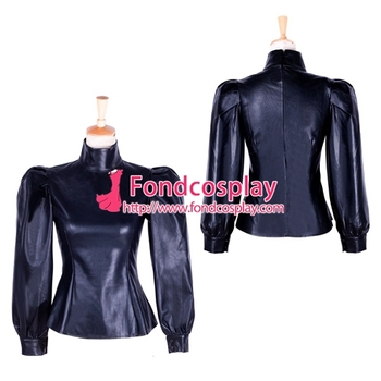 Sissy maid fetish gothic faux leather blouse Shirt  Cosplay Tailor-made [G1759]