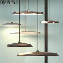 Denmark Modern Led UFO Pendant Lights Nordic Round Plate Hanging Lamp for Dining Room Bedroom Suspension Luminaire Home Art Deco цена