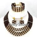 Brown africanos de la joyería cristalina 2015 nuevo diseño de nigeria boda collar nupcial establece venta al por mayor envío gratuito AIJ340