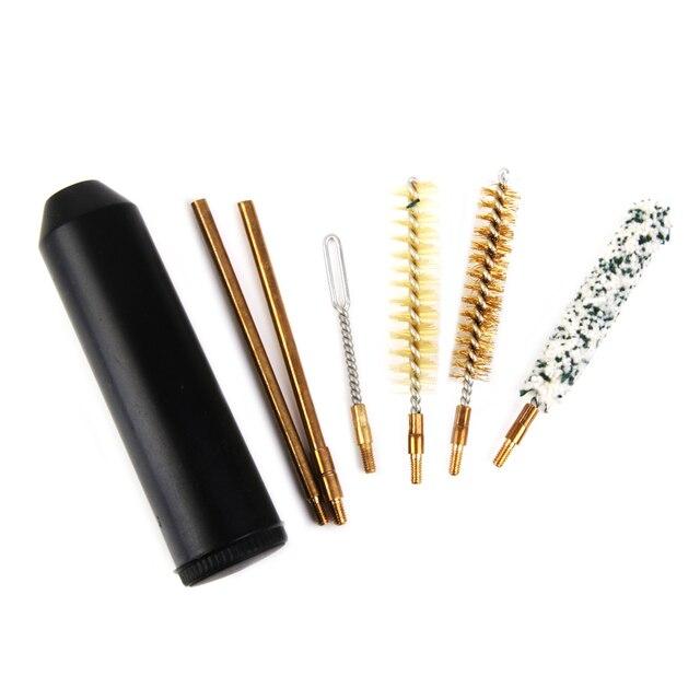 7pcs Barrel Kit di Pulizia Per Fucile Cal.38/357 9 millimetri Aste Manico del Pennello per la Caccia Allaperto onu G accessori