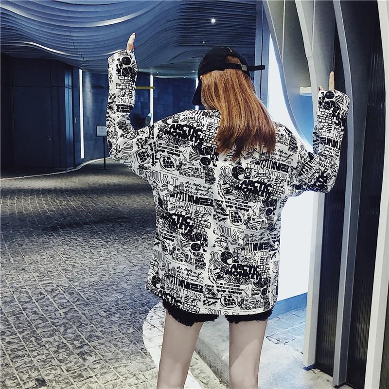 Women's Clothing Autumn Korean ulzzang Tops Casual loose hipster letter Print harajuku Tees BF O-neck long sleeve New T-Shirts 5