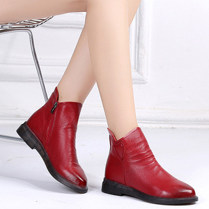 Image 5 - DRKANOL בריטי סגנון אמיתי פרה עור נשים קרסול מגפי סתיו אופנה קפלים צד רוכסן קצר מגפי נשים דירות נעליים