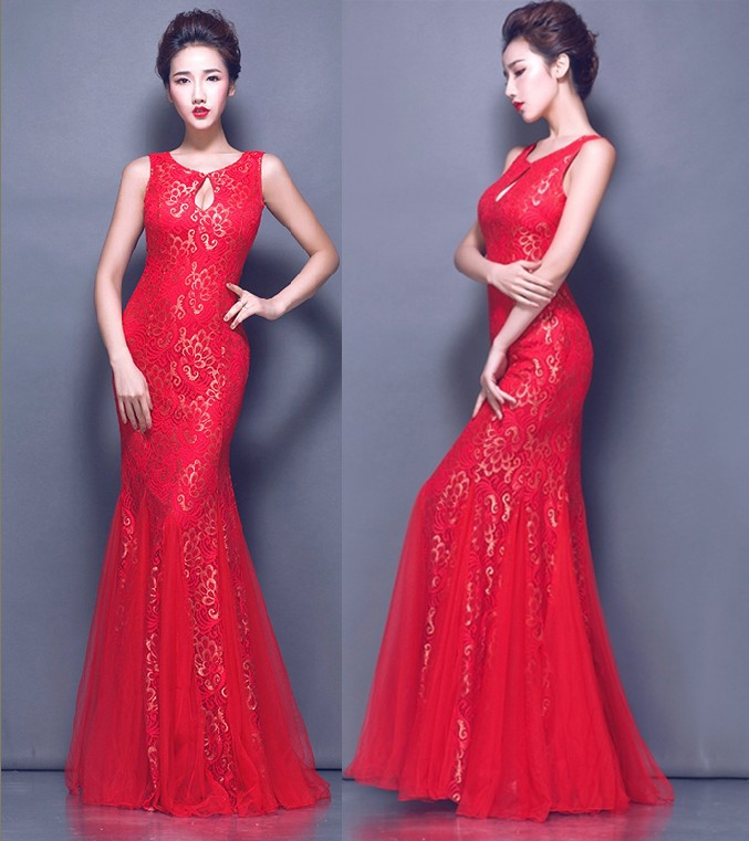 Распродажа с кружевом, с круглой горловиной, для девочек длинные платья для вечеринки вечернее платье vestido de festa Longo com Renda Abiti da сывороток халат de TK719 - Цвет: Red