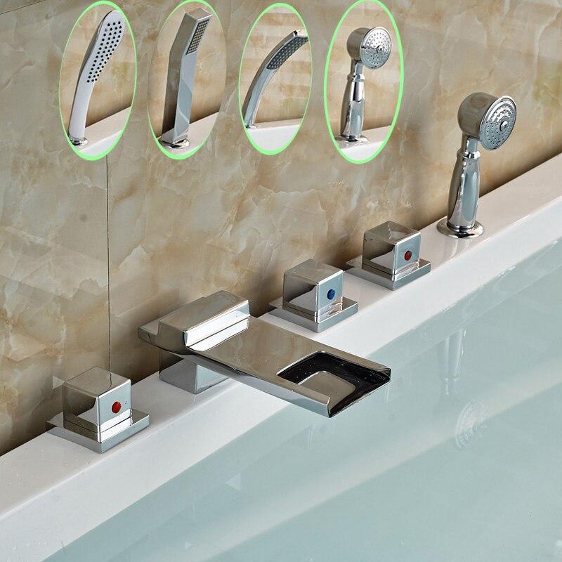 Фото Four Types Bathtub Faucet for Bathroom Three Handles 5 pcs Bath Shower Mixer Taps