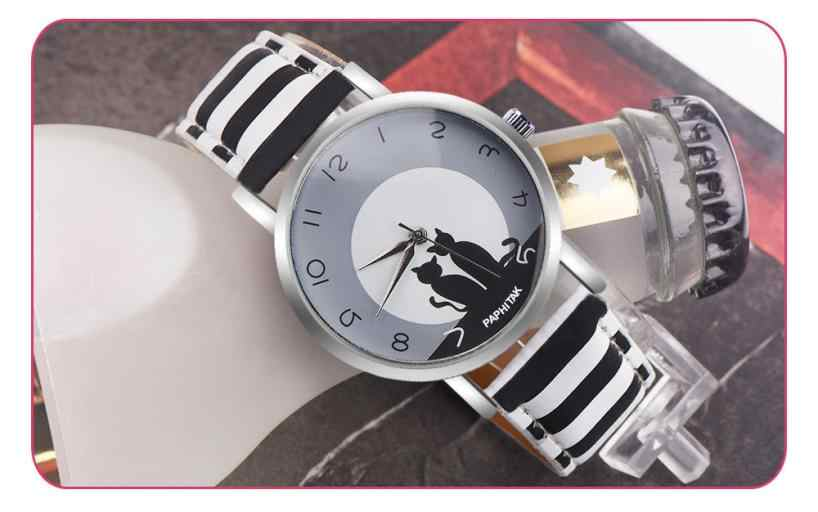 2018 ใหม่แฟชั่นน่ารัก Cat รูปแบบหนังนาฬิกาผู้หญิงนาฬิกาข้อมือนาฬิกาควอตซ์นาฬิกานาฬิกา Relogio Feminino Drop Ship