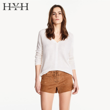 HYH HAOYIHUI Women Sweater Solid White Plunge Neck Elegant Long Sleeve Casual Pullovers Cute Loose Basic Sweater Female V-Neck classic design grey long sleeves loose plunge sweater