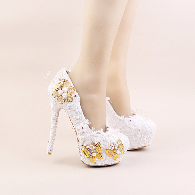 816747d1b2f US $84.99  2017 White Color Elegant Shoes Beautiful Lace Flower Bridal  Wedding High Heels Gold Butterflies Stiletto Imitation Pearl -in Women's  Pumps ...