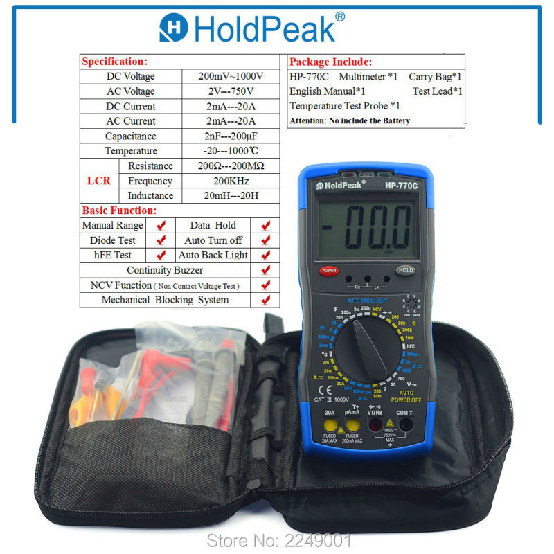 Multimetro HoldPeak HP-770C Digital LCR Multimeter Meter with NCV Feature and Inductance/Frequency Test digital lcr meter china lcr meter with led display