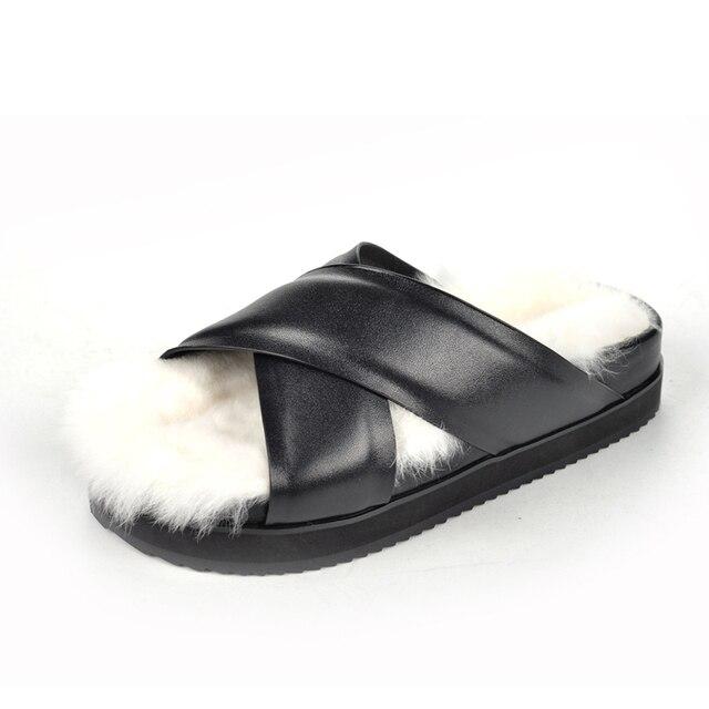 Женщины черный натуральная кожа белый натуральный мех слайды мягкие пушистые тапочки ручной работы плоским вьетнамки босоножки теплые ботинки 34-40 TM03C