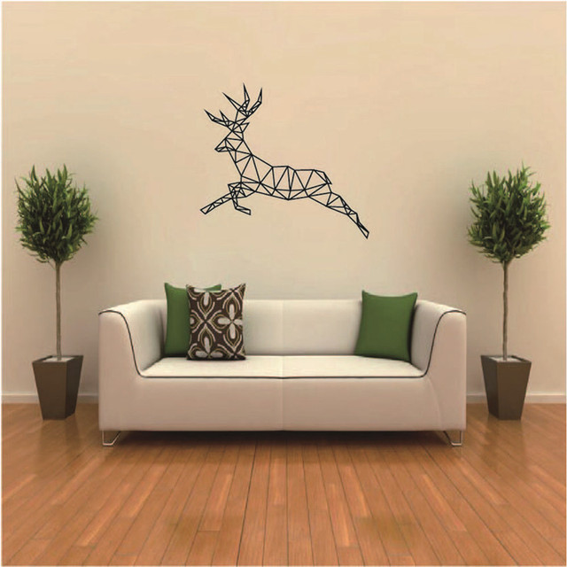 Geometric Running Deer Removable Wall Stickers Personalized Wall Sticker  Decals For Kids Rooms Living Room Bedroom