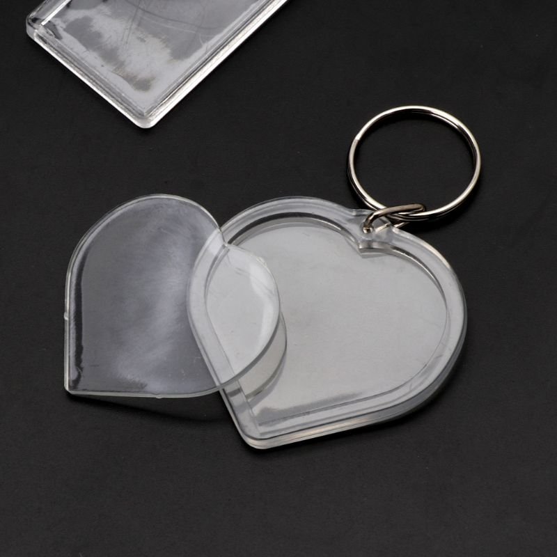 Acrylic Plastic Blank Clear Keyring Heart Shape Photo inserting key Ring