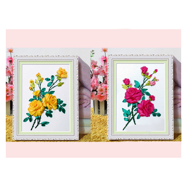 2pcsset Red Yellow Rose Silk Ribbon Embroidery 3d Canvas Painting