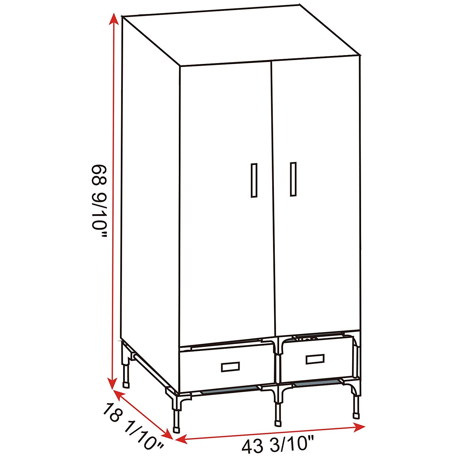 Portable Clothes Closet Wardrobe Storage With 2 Drawer Cloth