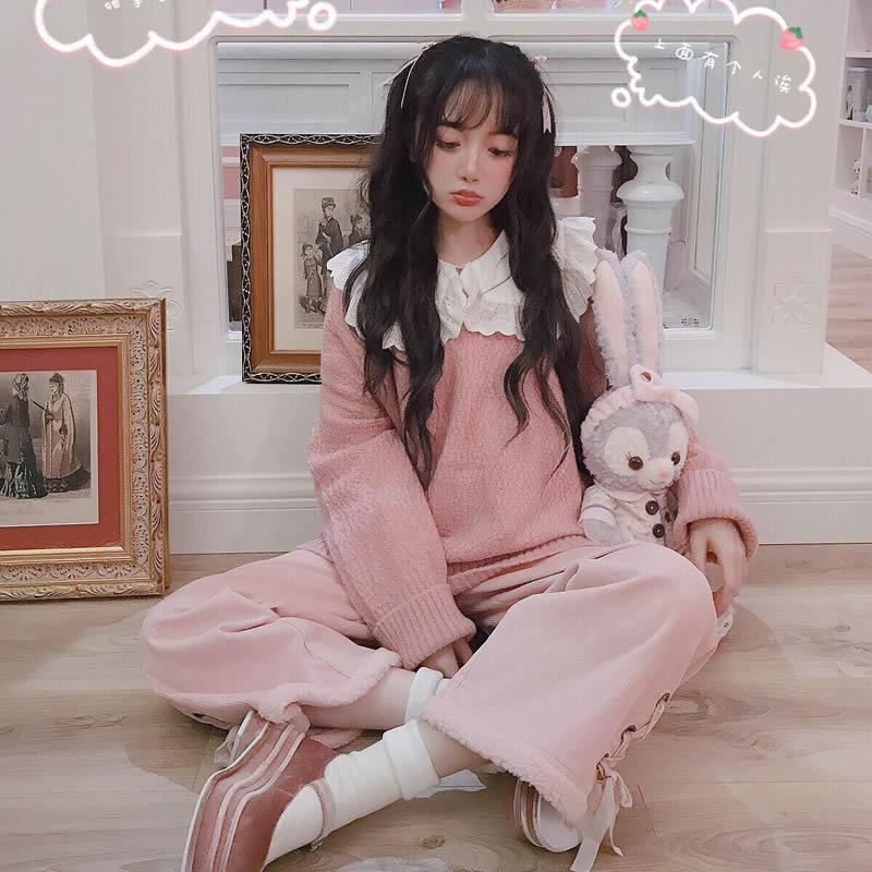 Rose Douce Automne D'hiver Âge De Lolita Cheveux Et Longs Chandail Tendre Femmes T1681 Princesse Laine Mode Grand wUdSxqq