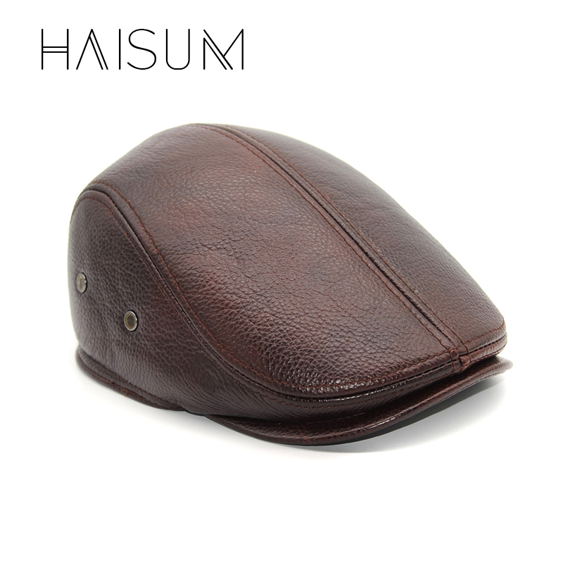 Haisum New Design Men's 100% Genuine Leather Cap Brand Newsboy /Cabbie Hat/baseball Winter Warm Hats With Ears CS11 20 inch lifelike sleeping boy reborn baby doll full silicone vinyl realistic babies dolls kids birthday xmas gift