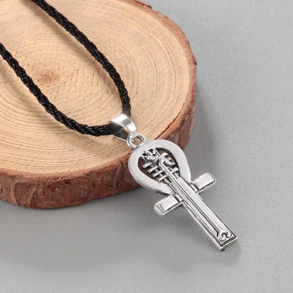 QIMING egipski Ankh Charms naszyjnik dla kobiet mężczyzn Anubis Amulet wisior stary złota z egiptu Retro bogini krzyż naszyjnik