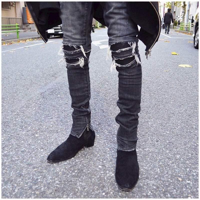 58681cd299b NEUE 2018 hip hop städtischen kleidung justin bieber unisex kanye west star  motorrad stretch dünne distressed ripped biker jeans ~ Best Seller June 2019