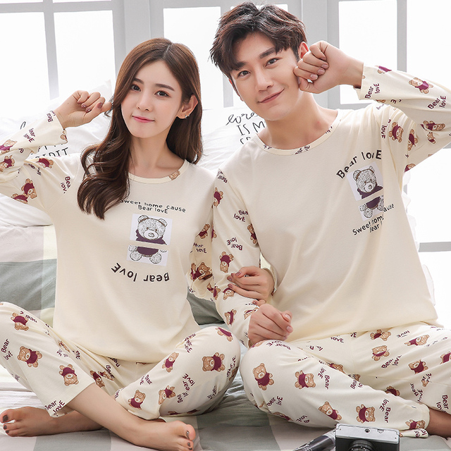 Couple Pajamas Set Spring And Autumn 100% Cotton Cartoon Women Pyjamas Plus Size M-3XL Long Sleeve Sleepwear Men Lounge Pijama