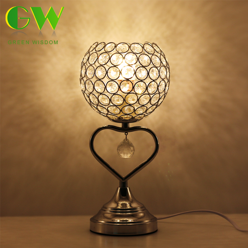 Modern Bedside Table Lamps K9 Crystal Bedroom LED Desk Table Lamp For Bedroom Living Room Study Office Home Decoration modern led metal lamp crystal shade bedroom bedside table lamp for the living room study home lighting fixtures with marble base