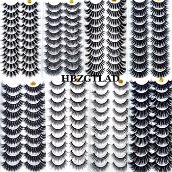 2021 NEW 3/5/10 Pairs 100% Real Mink Eyelashes 3D Natural False Eyelashes Mink Lashes Soft Eyelash Extension Makeup Kit Cilios 1