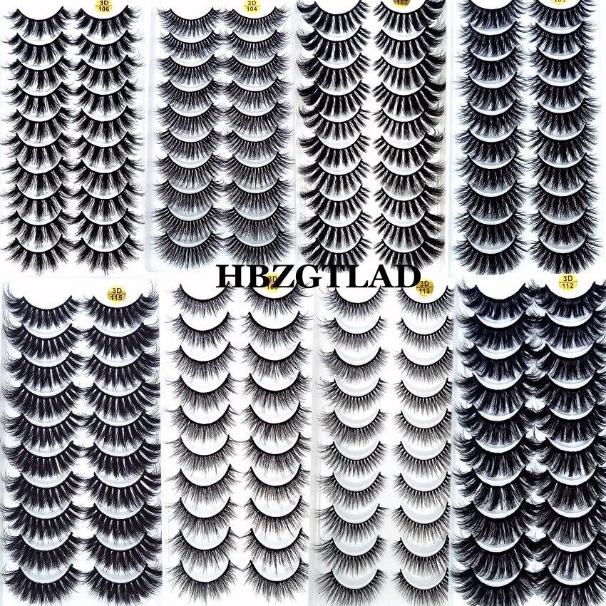 2020 NEW 3/5/10 pairs 100% Real Mink Eyelashes 3D Natural False Eyelashes Mink Lashes Soft Eyelash Extension Makeup Kit Cilios(China)