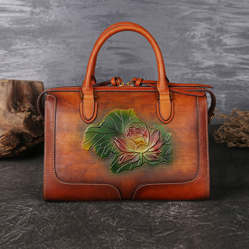 New Brand Woman Handmade Vintage Genuine Leather Handbag Ladies Retro Shoulder Messenger Bag Cow Leather Hand-printed Womans Bag vintage women genuine leather handbags ladies retro elegant shoulder messenger bag cow leather handmade womans bags