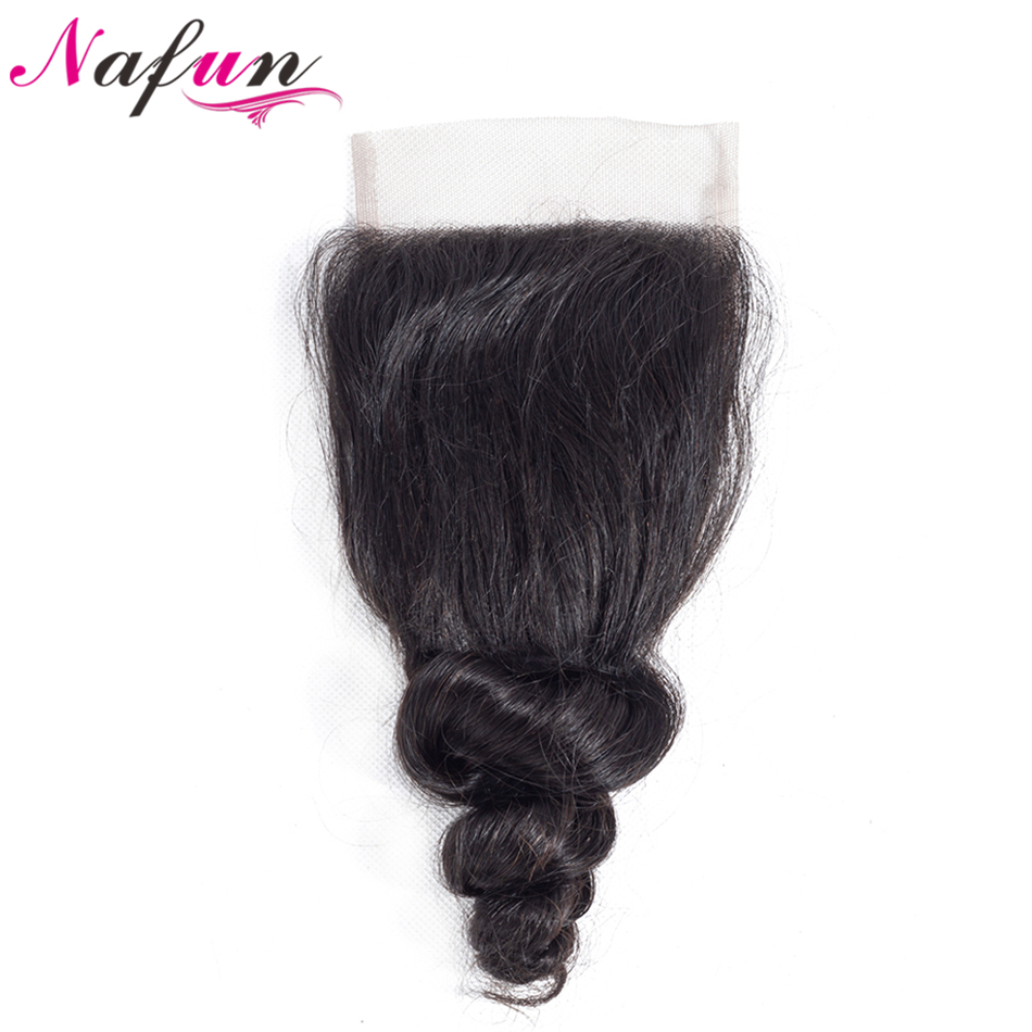 NAFUN Hair Peruvian Loose Wave Natural Color Non Remy Hair Weave 4*4 Lace Closure Free/Middle/Three Part Swiss Lace Hair ...