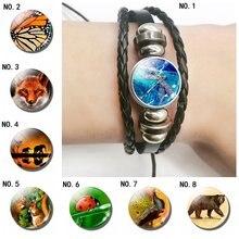 Красивый кожаный браслет со стрекозой и монаркой крыльями бабочки