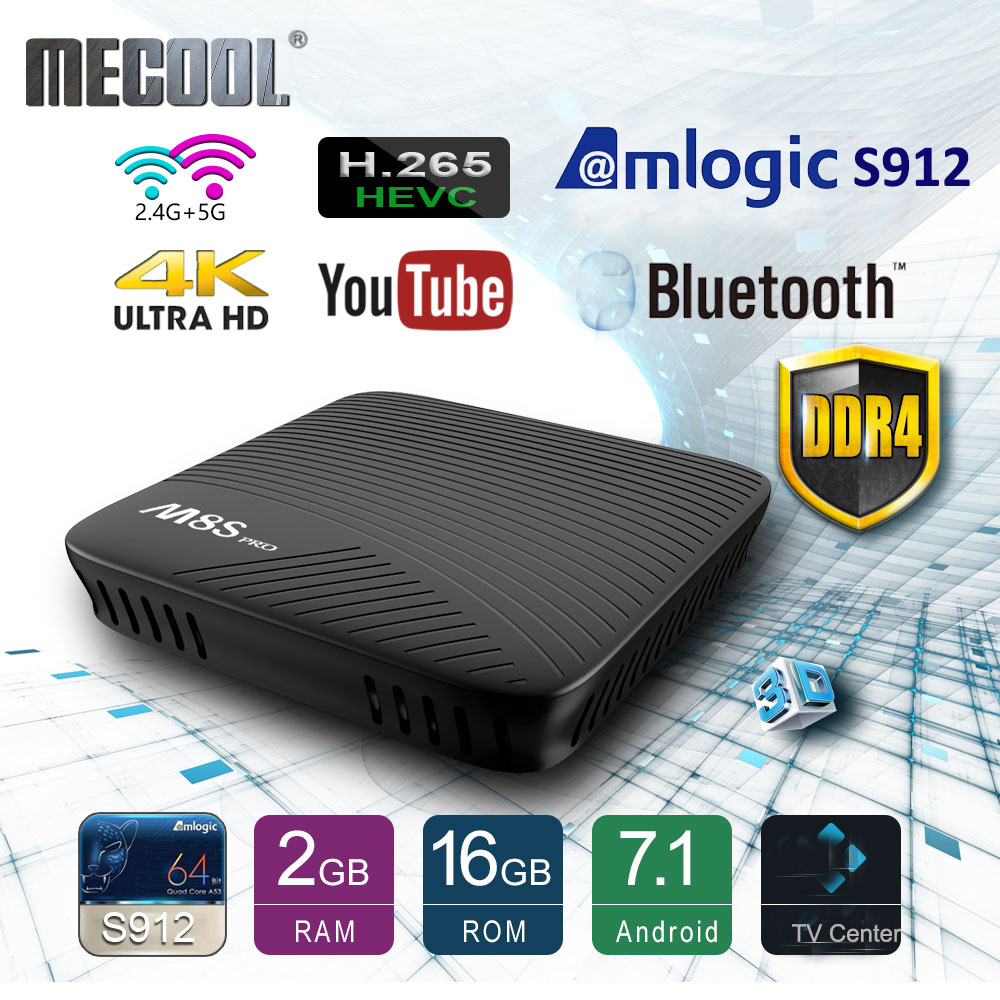 Mecool Amlogic S912 Android TV Box DDR4 octa-core Smart 7.1 16 GB 2.4G/5G WiFi BT 4.0 Airplay Miracast HD 4 K M8S Pro lecteur multimédia
